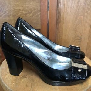 Calvin Klein Black Patent Block Heels 9 Pumps